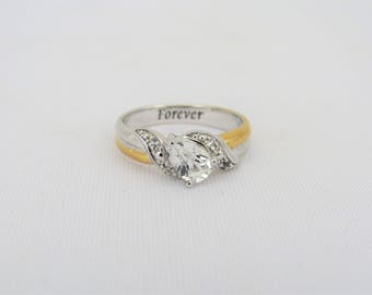 Vintage BGE Sterling Silver White Topaz Forever Ring Size 9