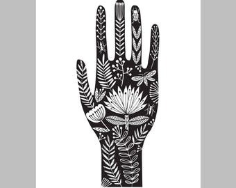 Henna pattern hand illustration, A3 giclee print