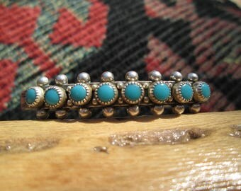 Bell Trading Post Petit Point Turquoise and Sterling Silver Cuff Bracelet (Snake Eyes)