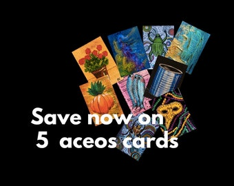 Choose Any 5 Aceos Set of cards Mix and match ACEOs cards Original aceos Original paintings