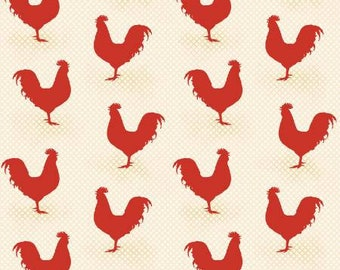 Rooster fabric, chicken fabric , red rooster fabric  made by Red Rooster