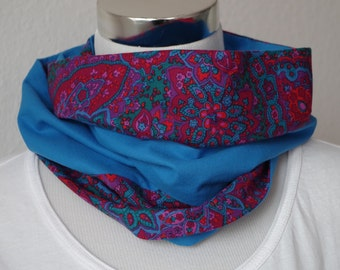 About scarf, 38 x 24 cm, cotton, loop, circle scarf, blue, flowers, floral design, Circleschal, one of a kind
