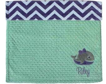 Minky Whale Blanket, Personalized Whale Minky Blanket- Opal & Purple Chevron Baby Blanket- Nautical Baby blanket, Nautical Nursery
