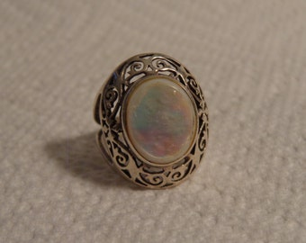 Mother of Pearl and Sterling Silver Filligree Ring - size 6