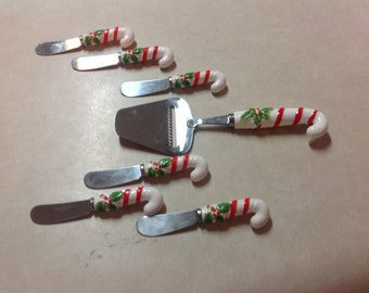 Candy cane set vintage cheese slicer 6 jam spreaders knives stainless ceramic Japan
