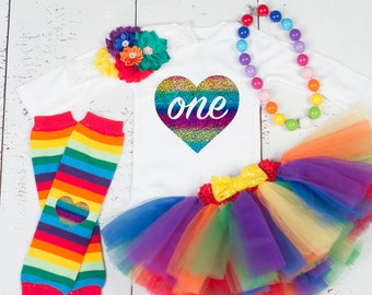 RAINBOW BABY First Birthday Tutu Set, Rainbow Tutu Outfit, Colorful Rainbow Birthday Set, Multicolor Tutu Set, 1st Birthday Rainbow Outfit