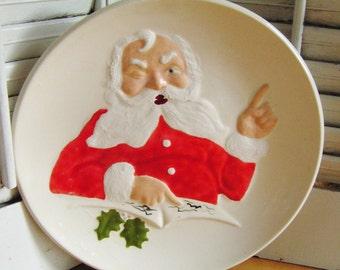 SALE 50% Off -- Vintage Retro Santa Claus Pottery Plate Santas Cookies Cookie Plate Christmas Plate Retro Christmas Decor Cookies for Santa