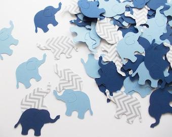 "Elephant Party Decoration, Elephant Confetti Navy Light Blue Gray Chevron 1.5"", 200 Ct., Birthday, Boy Baby Shower"