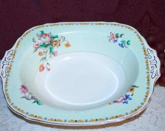 W H Grindley 1928 Rialto Seafoam Floral Gold Trim Ivory Handled Vegetable Bowl