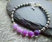 Dainty silver hematite stacking bracelet purple agate friendship braceletombre beaded bracelet hematite jewelry layering jewellery