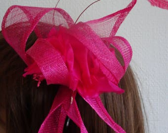 waves Fushcia pink sinamay   silk flowers  and feather on silver headband.
