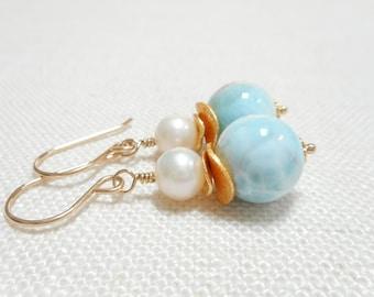 Larimar and Freshwater Pearl Earrings, Genuine Gemstone Larimar Jewelry, Gold Filled Sky Blue Stone Dangle Earrings, Gold Beach Wedding