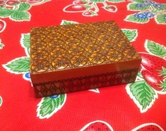 Vintage folk art wooden box with hand carved floral designs- Poland