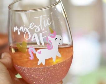 Majestic AF Unicorn Glitter Wine Glass - Unicorn Wine Glass - Unicorn Party Decorations - Unicorn Accessories - Unicorn Gift - Unicorn Cup
