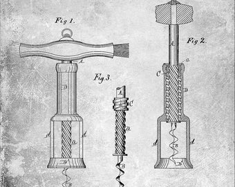 Vintage 1876 Cork Screw Patent Print 8 x 10
