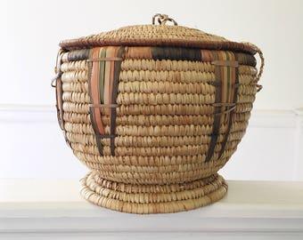 Vintage handmade lidded basket