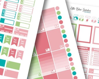 Lil' Flag Color Medley: Coral & Turquoise Planner Stickers -Instant Download, printable sticker kit, eclp stickers