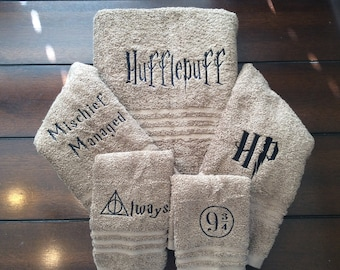 Harry Potter towel withquotes or symbols you choose which symbols
