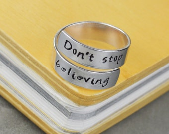 Don't Stop Believing Wrap Ring // Handstamped Jewelry