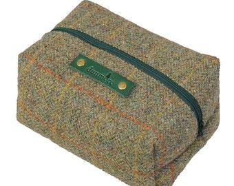 Green Harris Tweed toilet bag - made in Scotland