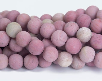 matte rhodonite round beads - red natural gemstones - beading jewelry supplies - wholesale stones - 4mm to 12mm ball beads - 15inch