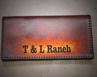 Personalized Checkbook Cover, Business Name or Logo,  Tooled Leather Checkbook Cover, Logo/Initials/Name  Engraved Free! Made in the USA