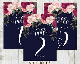 navy table numbers, Printable table numbers, table numbers 1-15, burgundy table numbers, digital table numbers, you print, size  7 x 5, 1-15