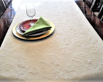Table Cloth, Full Bed Runner, Elegant Ivory Embossed Table Linen, Luxury Wedding/Dining/Banquet, 16''x76'' Champagne Buffet/Dresser Scarf