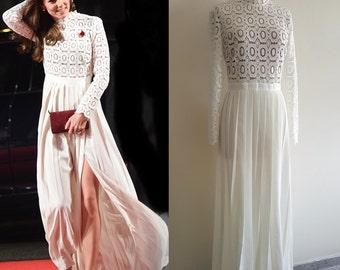 Kate Middleton/ White Self Portrait Evening Dress/ Maxi dress/ Lace gown/ long sleeve gown/ wedding dress/ Duchess of cambridge/Premium lace