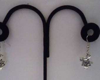 Tibetan Silver Rabbit Earrings & Corded Necklace