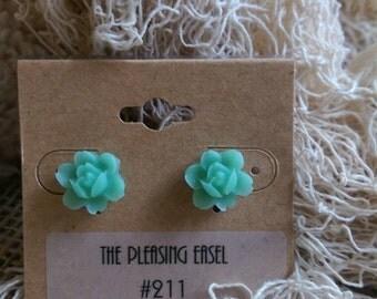 Sea Blue/Green Flower Earrings - Surgical Stainless Steel backs - #211