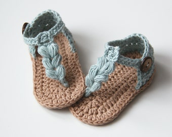 KORA Boho Baby Sandals, Natural Baby Shoes, Crochet Baby Shoes, Gender Neutral Baby, Size 0-3,3-6,6-9,9-12 months,Made to order
