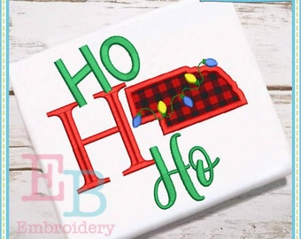 Ho Ho Ho Nebraska Applique - This design is to be used on an embroidery machine. Instant Download