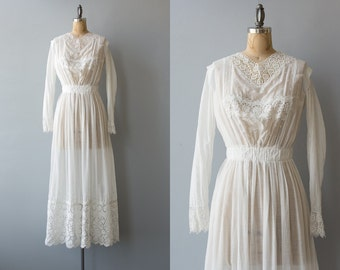 High Seas dress | 1900s white cotton edwardian dress | Antique tea dress with embroidery
