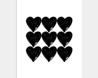 Hearts Art Print - Wall Decor - Home Decor - Black and White Hearts
