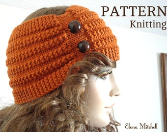 Knitting PATTERN Headband Womens Ear Warmer Adult Headband Knit Pattern Girls Children Pattern Hair Accessories PDF