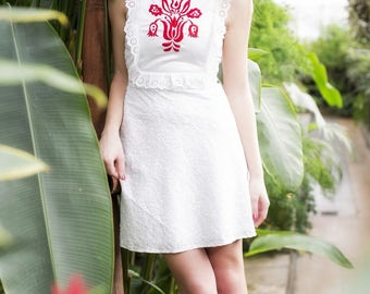 Long white cotton dress with embroidery