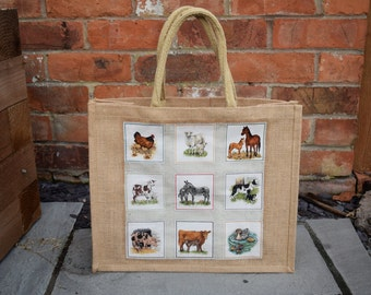 Farm Squares Jute Bag, Farm Bag, Farm Animals, Jute Bag, Hessian Bag, Handmade Farm Bag, Market Bag, Shopping Bag, Gift Bag