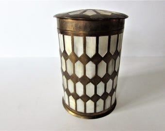Vintage Brass With Mother Of Pearl Inset Design Container With Lid.