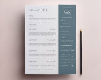 Resume Template & Cover Letter Template, CV Template w/Skills Bar Template - Modern Resume w Skills Word Document Template A4, US Letter