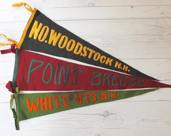Vintage North Woodstock NH Felt Pennant, Vintage Point Breeze Pennant, Vintage White Mountains Pennant - SOLD SEPARATELY
