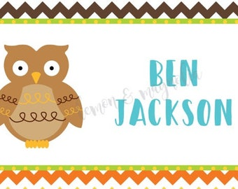 Boys Chevron with Owl Personalized Calling Card
