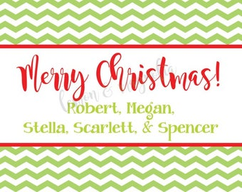 Lime Chevron with Red Personalized Christmas Gift Tag