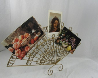 Vintage Metal Fan Shape Photo Card Holder Gold Wire Shabby Chic Home Decor