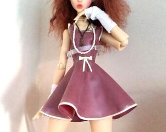 Latex Rubber Sleeveless Mini dress with full skirt Made to Measure for 1/3 SD BJD Dolls