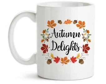 Coffee Mug, Autumn Delights, Fall Colors, Autumn Leaves, Autumn Gift, Autumn Art, Autumn, Fall, Gift Idea, Large Coffee Cup