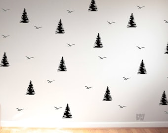 Pine Tree Wall Decals. Animal Wall Decals. Forest Wall Decals. Vinyl Decals. Wall Decal. Nursery wall decals. Home decor decals.