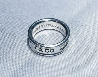 Authentic Tiffany & Co. Sterling Silver 1837 Concave Ring