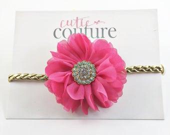 hot pink baby Headband, Gold Headband, Pink and Gold Headband, Hot Pink birthday Headband, Boho Headband, hot pink and Gold Headband