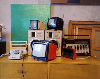 """Vintage portable television receiver Rarity """"Electronics 404D""""  80's Retro Television Red & Black"""
